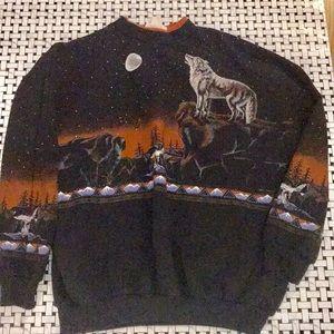 Vintage wolf Sweatshirt Artisans Sunschein Designs
